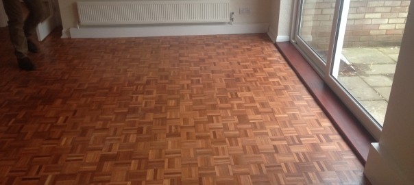 Sanded and Sealed Parquet Flooring-Dining Room